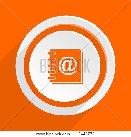 address book orange flat design modern icon for web and mobile app