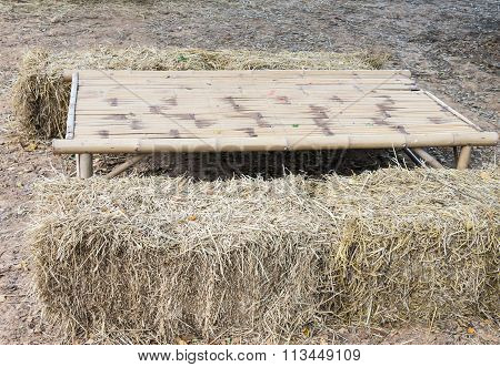 Bamboo Table With  Straw Briquette
