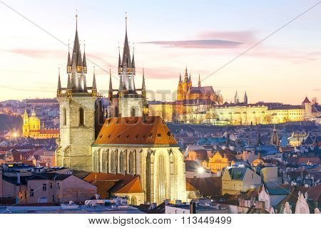 Prague. View of the city at sunset.