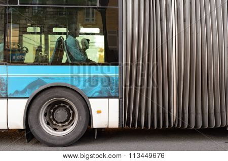 BORDEAUX, FRANCE - AUGUST 13, 2015: close up shot of bus at Bordeaux. Bordeaux is a port city on the Garonne River in the Gironde department in southwestern France.