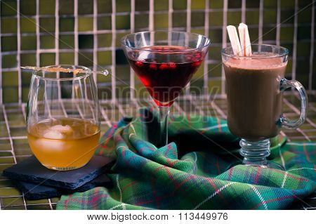 Trio of cold weather alcoholic drinks
