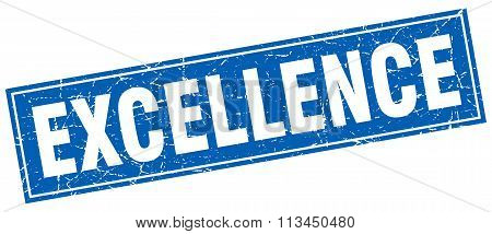 Excellence Blue Square Grunge Stamp On White