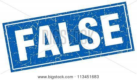 False Blue Square Grunge Stamp On White
