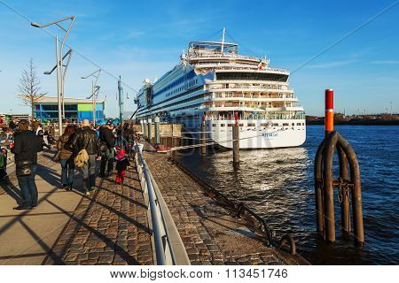 ship at the st Pauli Piers in Hamburg, Germany