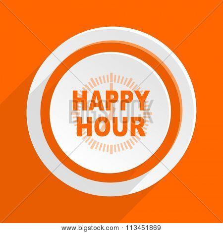 happy hour orange flat design modern icon for web and mobile app