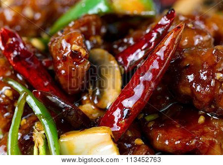 Spicy Red Hot Chile Peppers With Chicken And Vegetables Dish