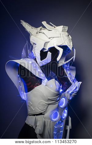 helmet, bionic armor with blue LED lights and plastic materials