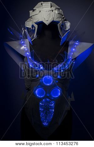 intelligence, bionic armor with blue LED lights and plastic materials