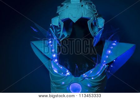 machine, bionic armor with blue LED lights and plastic materials