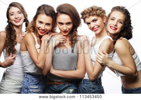 group of five girls friends