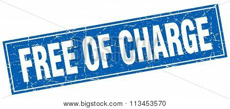 Free Of Charge Blue Square Grunge Stamp On White