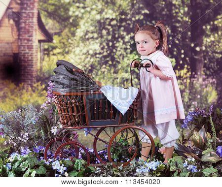 An adorable preschooler pushing her teddy in an antique doll carriage toward a rustic old homestead on a bright summer day.