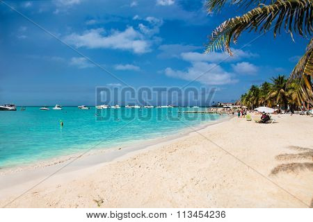 Norten beach on Isla Mujeres island near Cancun in Mexico. Latin America.