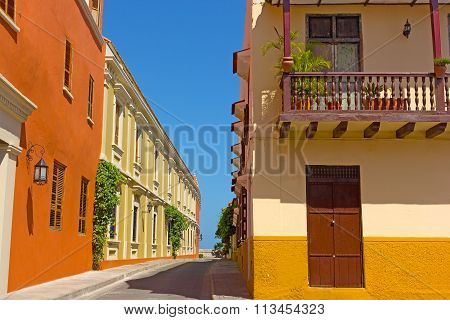 Cartagena city street with vintage buildings Colombia.