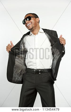 Happy Hip and Trendy Formal Black Male