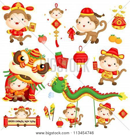 Chinese New Year Monkey Year Vector Set