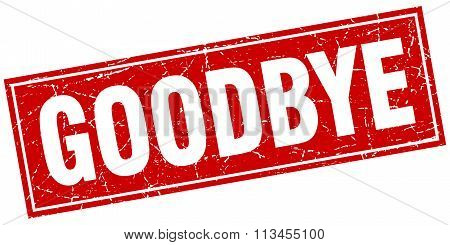 Goodbye Red Square Grunge Stamp On White