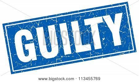 Guilty Blue Square Grunge Stamp On White