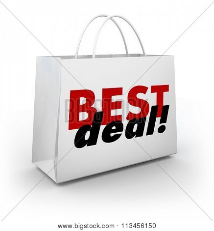 Best Deal words on a white store shopping bag having a big sale with discount low prices