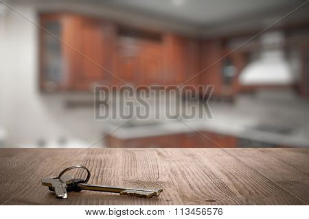keys on wooden table in the kitchen