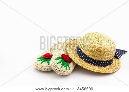 Woven Hat And Woven Sandals Shoes.