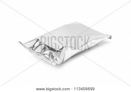 blank packaging aluminium foil snack pouch isolated on white background