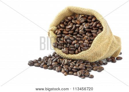 Roasted coffee beans in burlap sack.