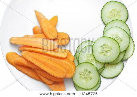 Carrot And Cucumber Slices In White Plate.