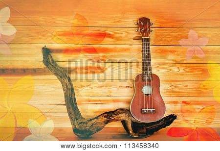Ukulele In Vintage Style And Summer Mood Colour