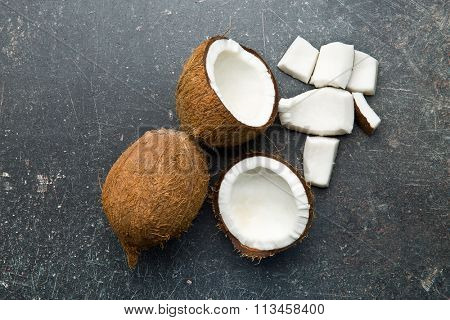 top view of halved and whole coconut