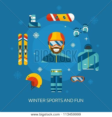 Winter Sports Kit And Boarder Man
