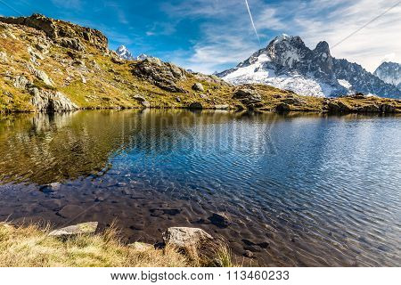 Lac Des Cheserys And Aiguille Verte- France