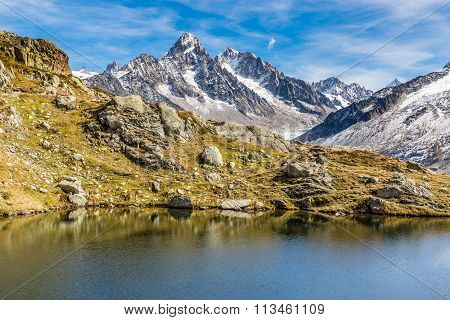 Lac Des Cheserys And And Mountain Range - France