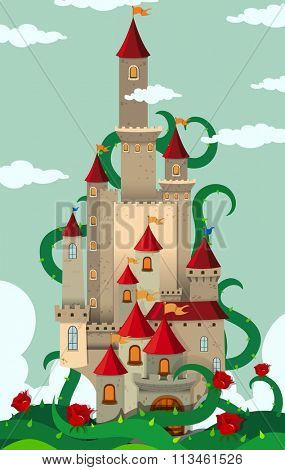 Castle towers with thorny plant illustration