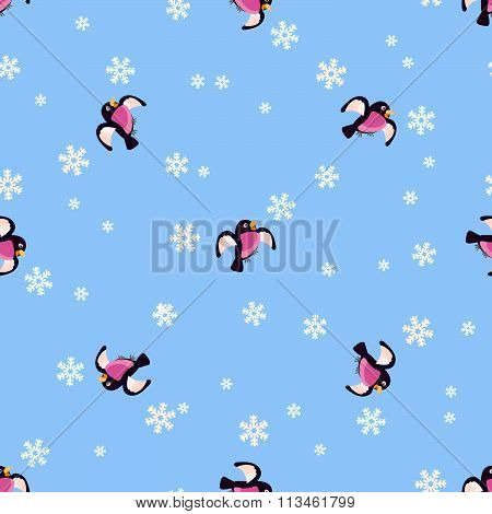 Bullfinches and snow pattern