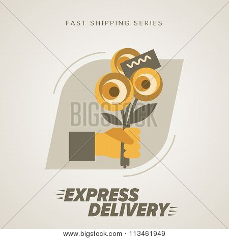 Express Flowers Delivery Symbols. Vector illustration.