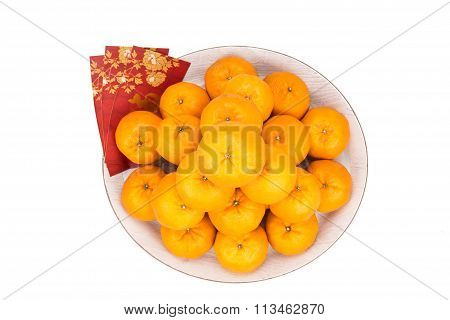 Heap Of Mandarin Oranges, Red Packets With Good Luck Character