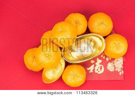 Mandarin Oranges, Gold Nuggets, Red Packets, Chinese Good Luck Character