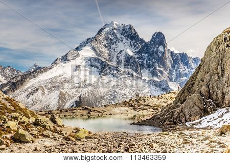 Lac Blanc And Aiguille Verte Mountain - France