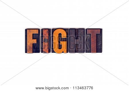 Fight Concept Isolated Letterpress Type