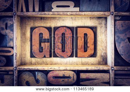 God Concept Letterpress Type