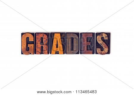 Grades Concept Isolated Letterpress Type
