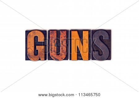 Guns Concept Isolated Letterpress Type