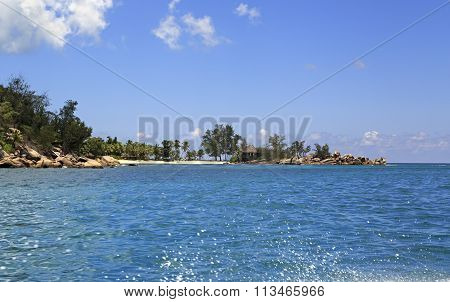 Beach at Constance Lemuria Resort. Praslin Island in Seychelles.