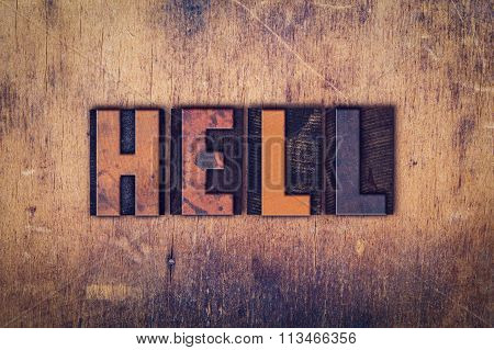 Hell Concept Wooden Letterpress Type