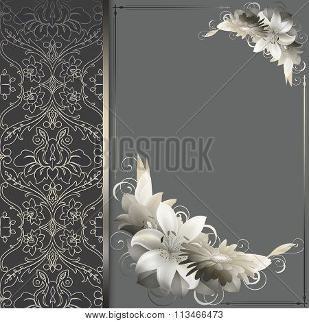 Decorative Floral Background With Old-fashioned Ornament.