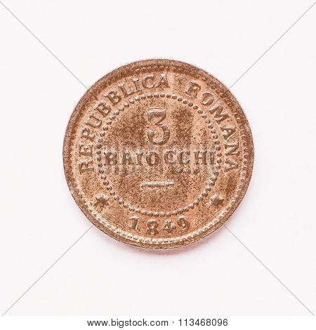 Old Italian Coin 3 Baiocchi Vintage