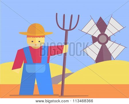 Vector Farmer With Pitchfork
