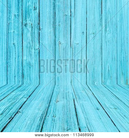 Old Wooden Room Interior, Blue Background