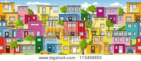 Modern Colorful Houses, Also Usable As A Continuous Background
